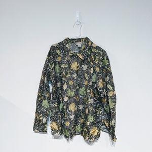 Vintage silk leaf print blouse size XL